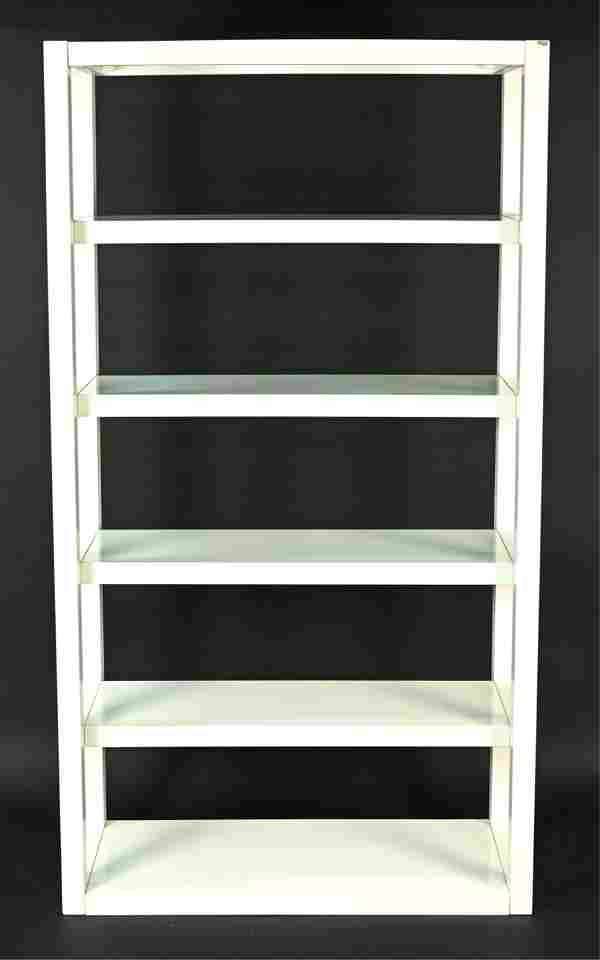 CONTEMPORARY WHITE LACQUER PARSONS-STYLE ETAGERE
