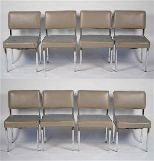 (8) MID-CENTURY CHROME FRAME DINING CHAIRS