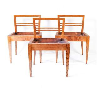 (3) MID-CENTURY FRENCH OAK SIDE CHAIR FRAMES
