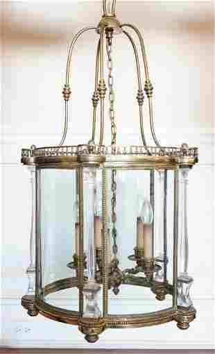 BRASS & GLASS FOYER PENDANT CHANDELIER