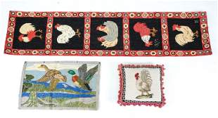 NEEDLEPOINT ROOSTER PILLOW & (2) VINTAGE RUGS