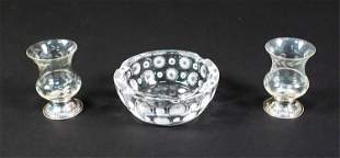 (2) STERLING FOOTED CUPS & LALIQUE CRYSTAL DISH