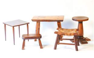 GROUPING OF DIMINUTIVE TABLES & STOOLS