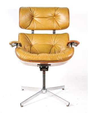 EAMES STYLE SWIVEL LOUNGE CHAIR