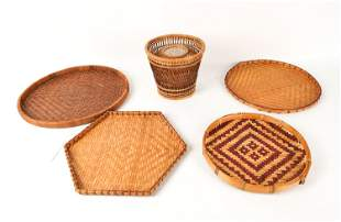 (6) VINTAGE WOVEN TRAYS & BASKETS