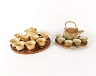 (2) VINTAGE CERAMIC TEA SETS & TRAYS