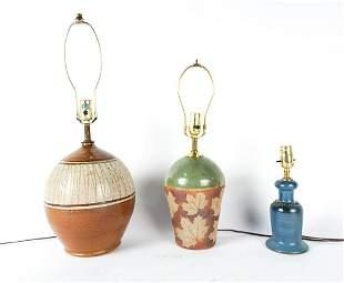 (3) MID-CENTURY CERAMIC TABLE LAMPS