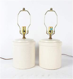 PAIR OF STONEWARE TABLE LAMPS