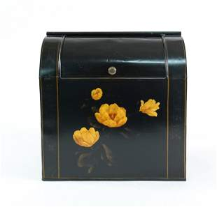 LARGE TOLE PAINTED METAL BREAD BOX