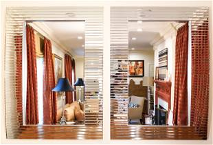 PAIR OF CONTEMPORARY MIRRORED FRAME MIRRORS