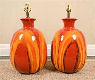 PAIR MID-CENTURY ORANGE & RED CERAMIC TABLE LAMPS