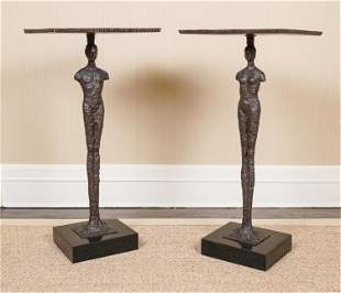 PAIR OF GLOBAL VIEWS AFTER GIACOMETTI SIDE TABLES