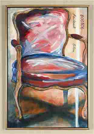 CONTEMPORARY OIL ON CANVAS STILL LIFE CHAIR