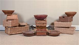 GROUPING OF WOVEN BASKETS, ETC.