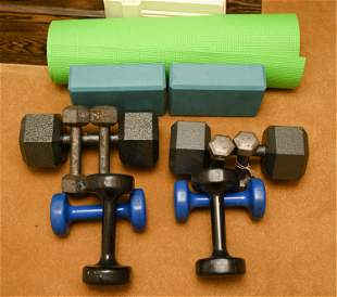 GROUPING OF EXERCISE EQUIPMENT INCL. WEIGHTS