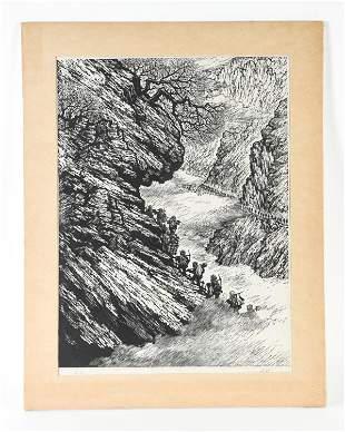LIU KUANG CHINESE WOODBLOCK, 1955