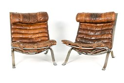 PAIR OF MID-CENTURY ARNE NORELL ARI LEATHER CHAIRS