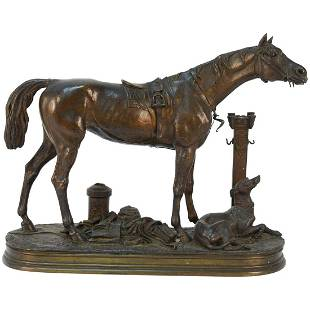 JULES MOIGNIEZ, FRENCH (1835-1894) BRONZE HORSE