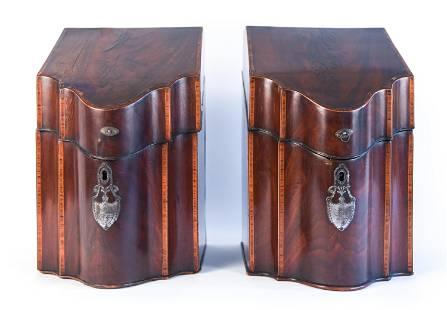 (2) GEORGIAN STYLE INLAID MAHOGANY KNIFE BOXES
