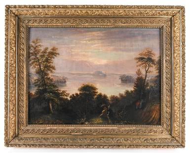 1830'S HUDSON RIVER SCHOOL OIL ON PANEL