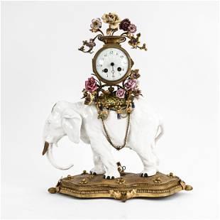 19TH C. LOUIS XVI-STYLE ELEPHANT MANTEL CLOCK