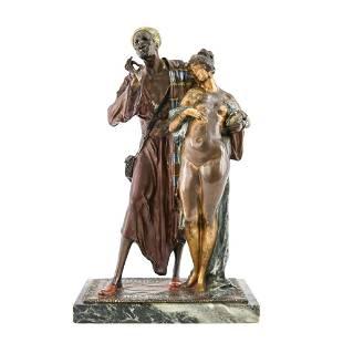 ATTR FRANZ BERGMANN VIENNA BRONZE SLAVE MERCHANT
