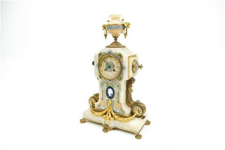 CHAMPLEVE ENAMEL & MARBLE CLOCK
