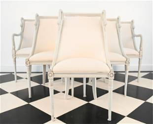 (6) SWEDISH STYLE CARVED SWAN HEAD DINING CHAIRS