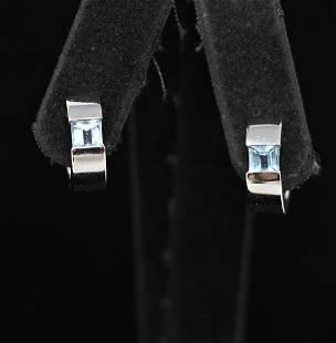 18K WHITE GOLD & TOPAZ HOOP EARRINGS