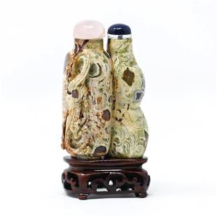 CHINESE CARVED PUDDINGSTONE DOUBLE SNUFF BOTTLE