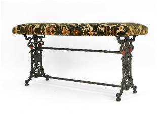 CAST IRON AND UPHOLSTERED FIREPLACE BENCH