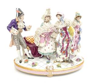 LARGE LACE PORCELAIN FIGURAL GROUPING