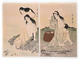 (2) KITAGAWA UTAMARO ORIGINAL AWABI DIVERS