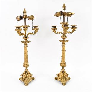 PAIR OF 19TH C. FRENCH FIRE GILT BRONZE CANDELABRA