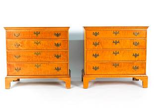 PAIR OF ELDRED WHEELER TIGER MAPLE CHESTS