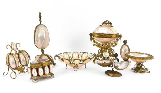 (8) ANTIQUE ABALONE SHELL & BRASS BOXES/GARNITURE