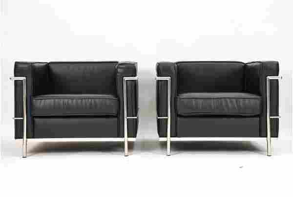 PAIR OF LOUNGE CHAIRS, STYLE OF LE CORBUSIER LC2