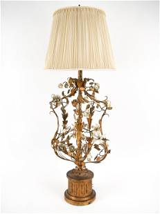 MID-CENTURY GILT TOLE PAINTED TABLE LAMP