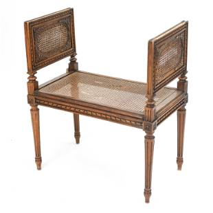 FRENCH LOUIS XVI STYLE CARVED & CANED VANITY BENCH