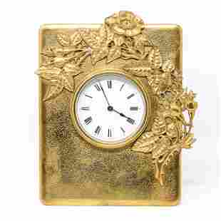 FRENCH BRASS TABLE CLOCK, C. 1910