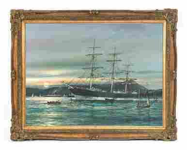BOB SANDERS (B. 1945) LARGE SHIP PAINTING