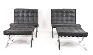 (2) LOUNGE CHAIRS & OTTOMANS AFTER VAN DER ROHE