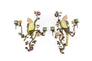 PAIR VINTAGE PORCELAIN & BRASS BIRD WALL SCONCES
