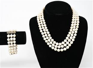 3-STRAND PEARL NECKLACE AND BRACELET