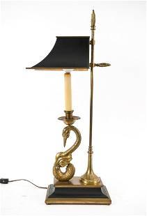 VINTAGE CHAPMAN BRASS & TOLE SWAN LAMP