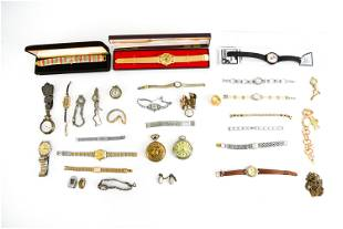 LARGE GROUPIN OF WATCHES, POCKET WATCHES ETC.