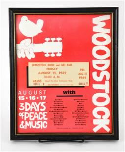 FRAMED AUG 15, 1969 WOODSTOCK TICKET