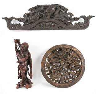 (3) 20TH C. CHINESE WOOD CARVINGS