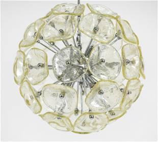 CONTEMPORARY GLASS SPUTNIK LOTUS FLOWER CHANDELIER