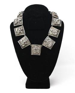 ANGLO-INDIAN REPOUSSE SILVER DEITY NECKLACE